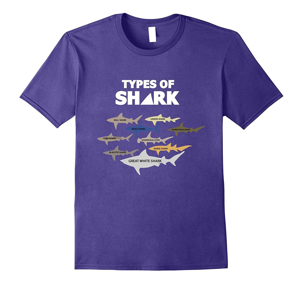 9 Types of Sharks Marine Biology Tshirt Funny Shark Tee