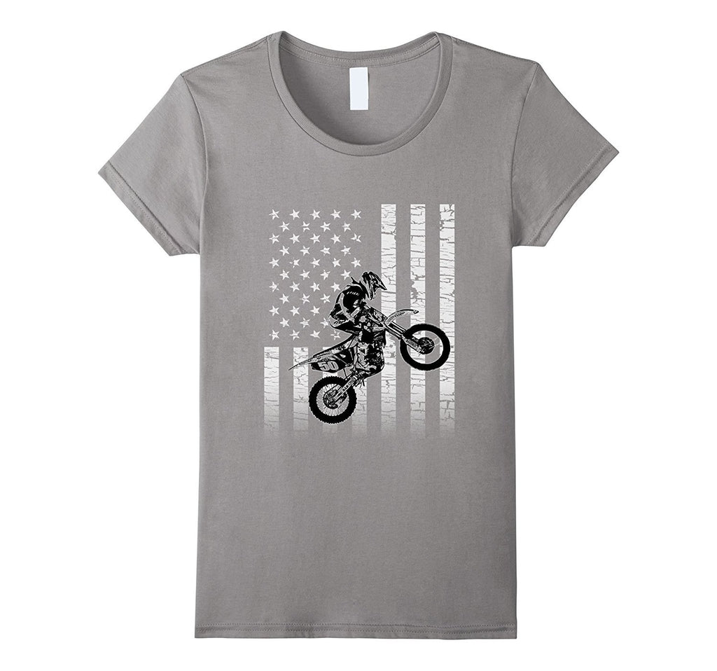 American Flag Graphic Motocross Dirt Bike T-shirt
