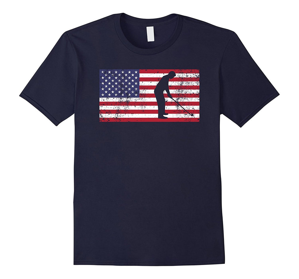 American Flag Golf USA Patriotic Vintage Distressed T-Shirt