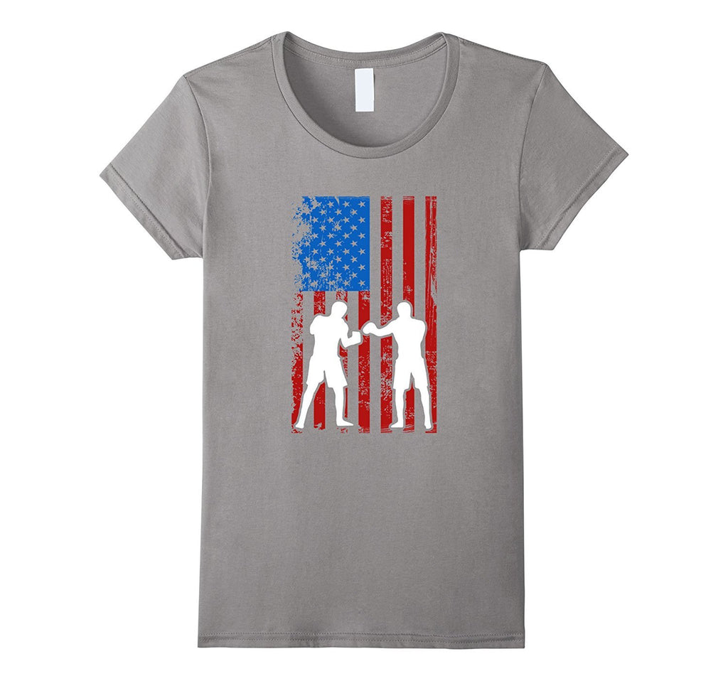 Boxing American Flag Sports Player Silhouette T-Shirt