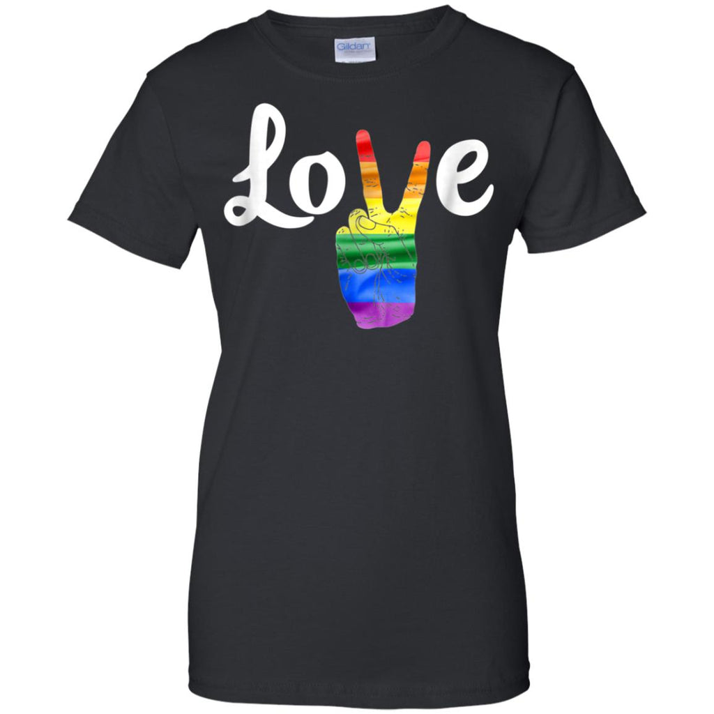 LOVE Peace Sign Gay Pride T Shirt Love is Love Tee