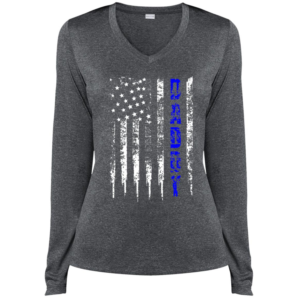Police Daddy T-Shirt Blue Line Gift Fathers Day distressed