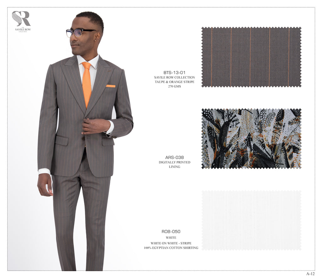 Taupe and Orange Stripe Suit - BTS-13-01 (Peak Lapel)