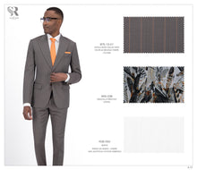 Load image into Gallery viewer, Taupe and Orange Stripe Suit - BTS-13-01 (Peak Lapel)