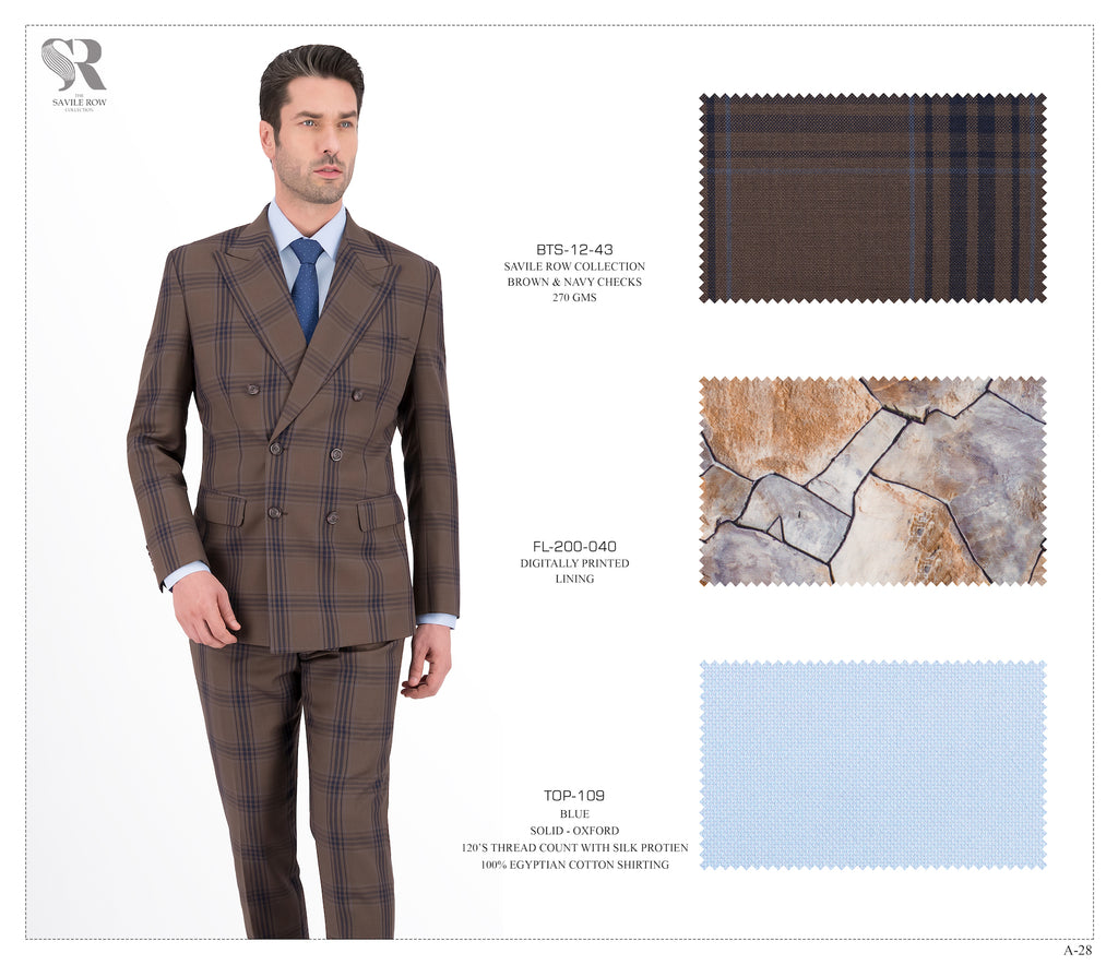 Double Breasted Brown and Navy Checks Suit - BTS-12-43