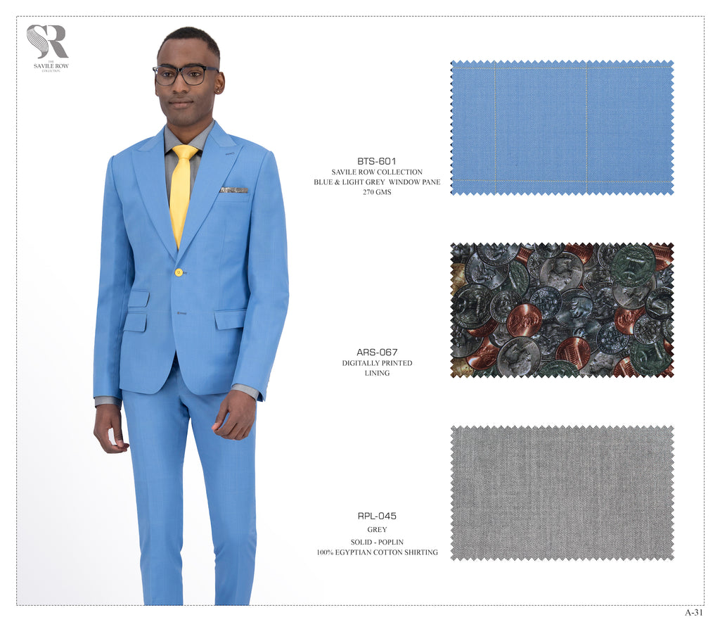 Blue and Light Grey Window Pane Suit - BTS-601