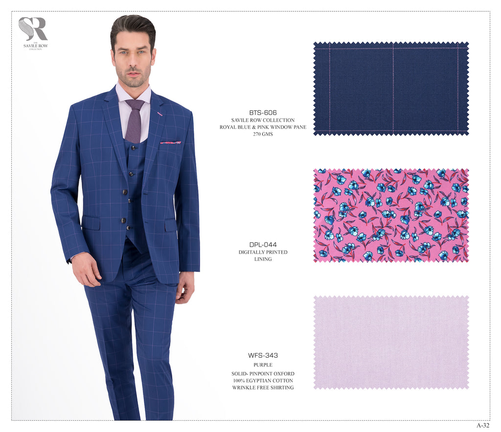 Royal Blue and Pink Window Pane Suit - BTS-606