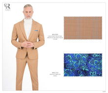 Load image into Gallery viewer, Orange and Aqua Blue Plaid Suit - BTS-630