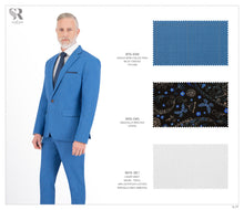Load image into Gallery viewer, Blue with Light Orange Checks Suit - BTS-638