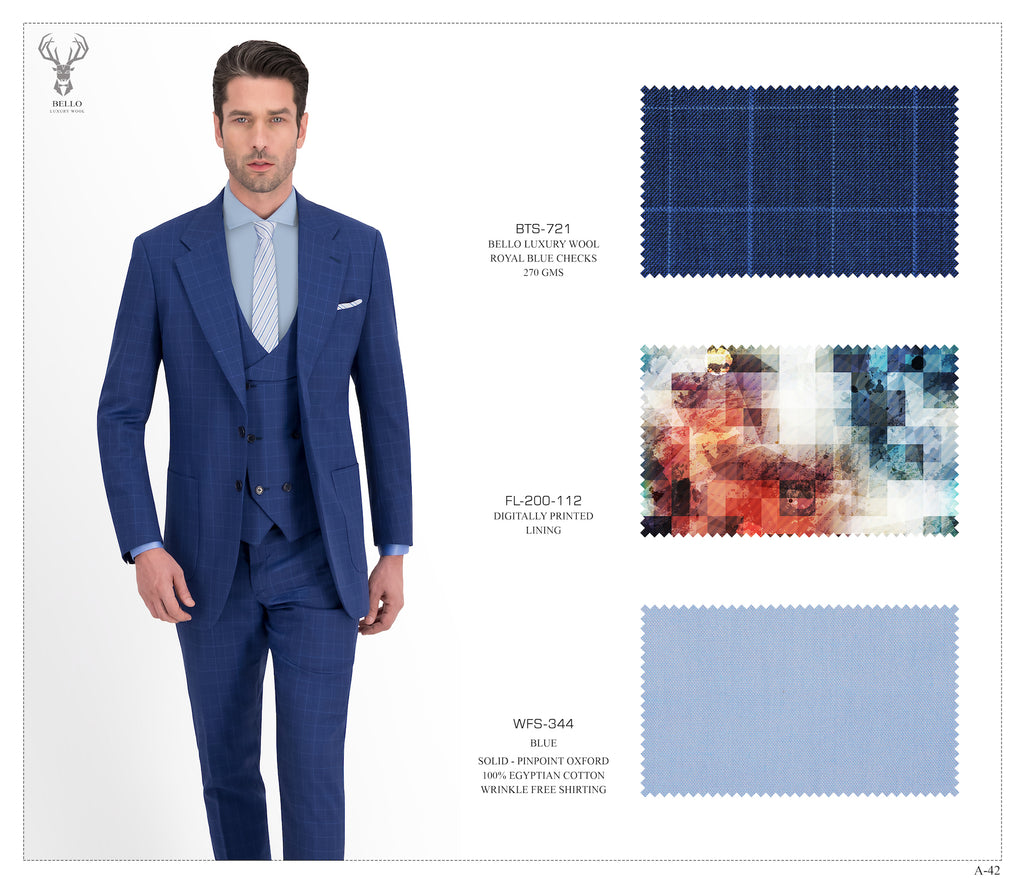 Royal Blue Checks Suit - BTS-721
