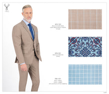 Load image into Gallery viewer, Light Beige & Blue Checks Suit - BTS-723