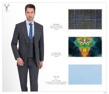 Load image into Gallery viewer, Grey and Blue Checks Suit - Peak Lapel - BTS-803