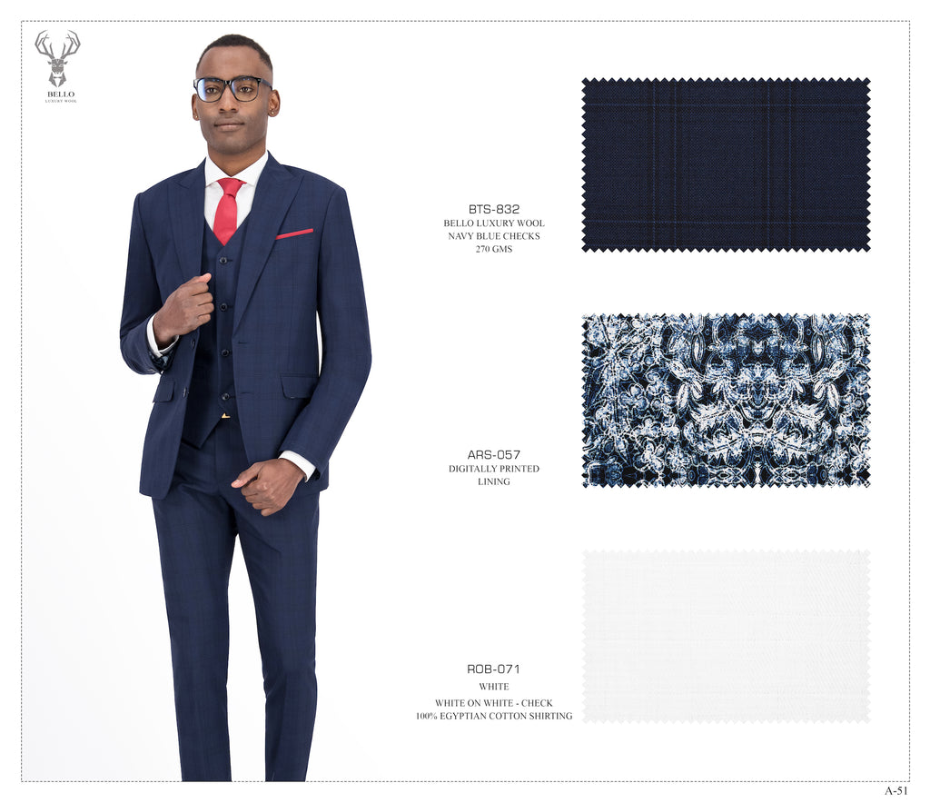 Navy Blue Checks Suit - Peak Lapel - BTS-832