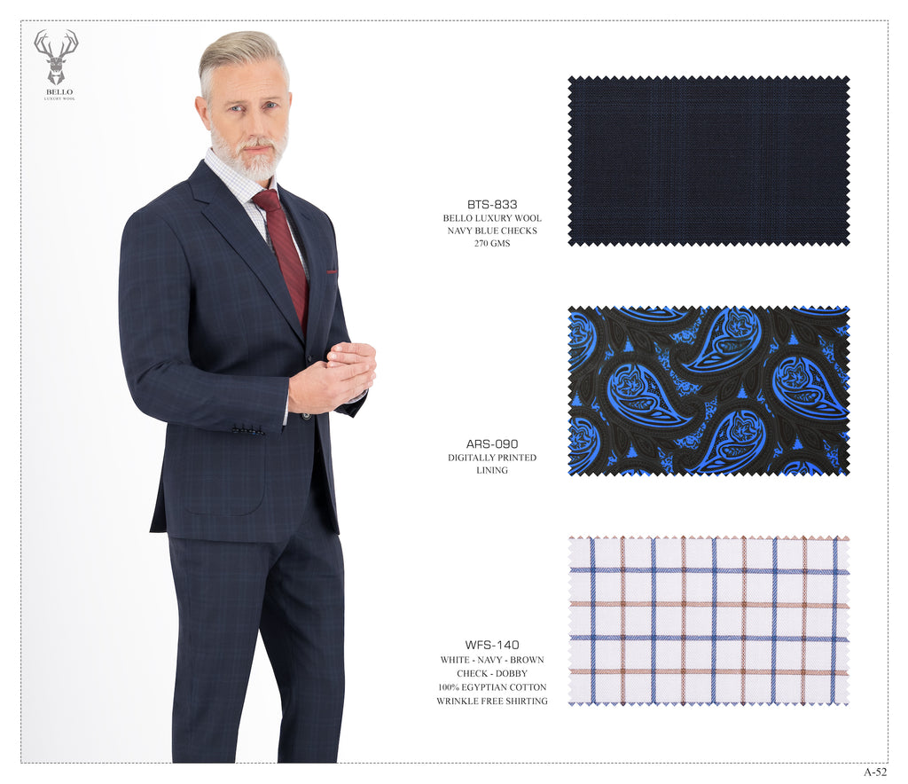 Navy Blue Checks Suit - BTS-833