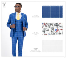 Load image into Gallery viewer, Light Blue Checks Suit - BTS-909