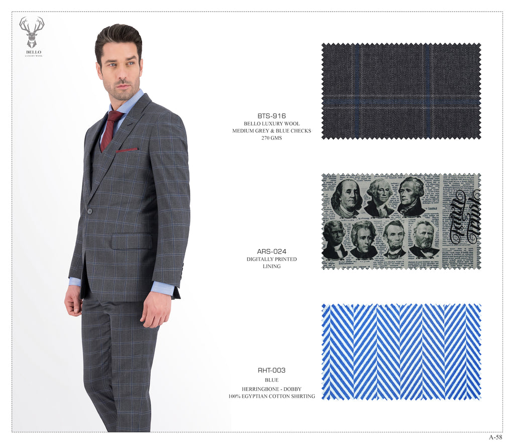 Medium Grey & Blue Checks Suit - BTS-916
