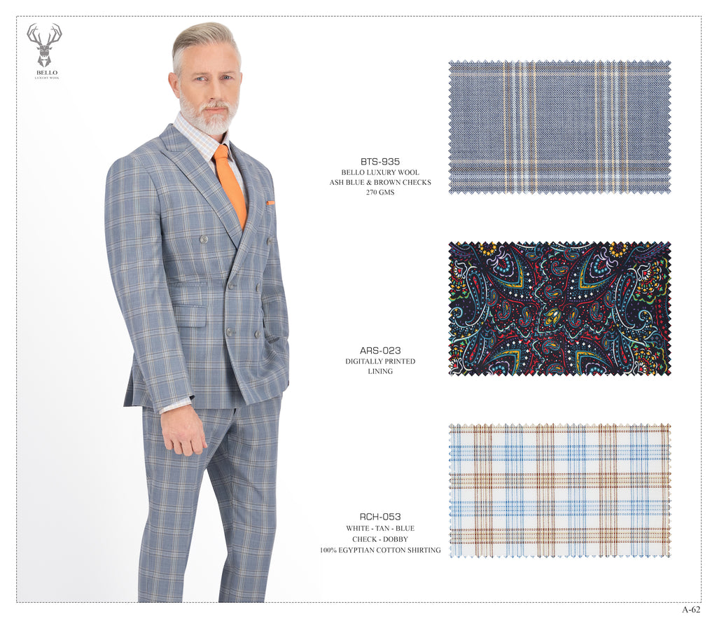Double Breasted Ash Blue and Brown Checks Suit - BTS-935