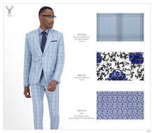 Load image into Gallery viewer, Sky Blue Checks Suit - BTS-950