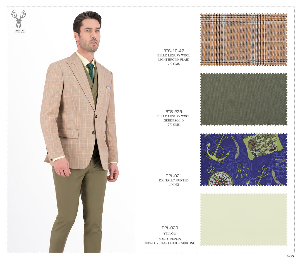 Light Brown Plaid Suit - BTS-10-47