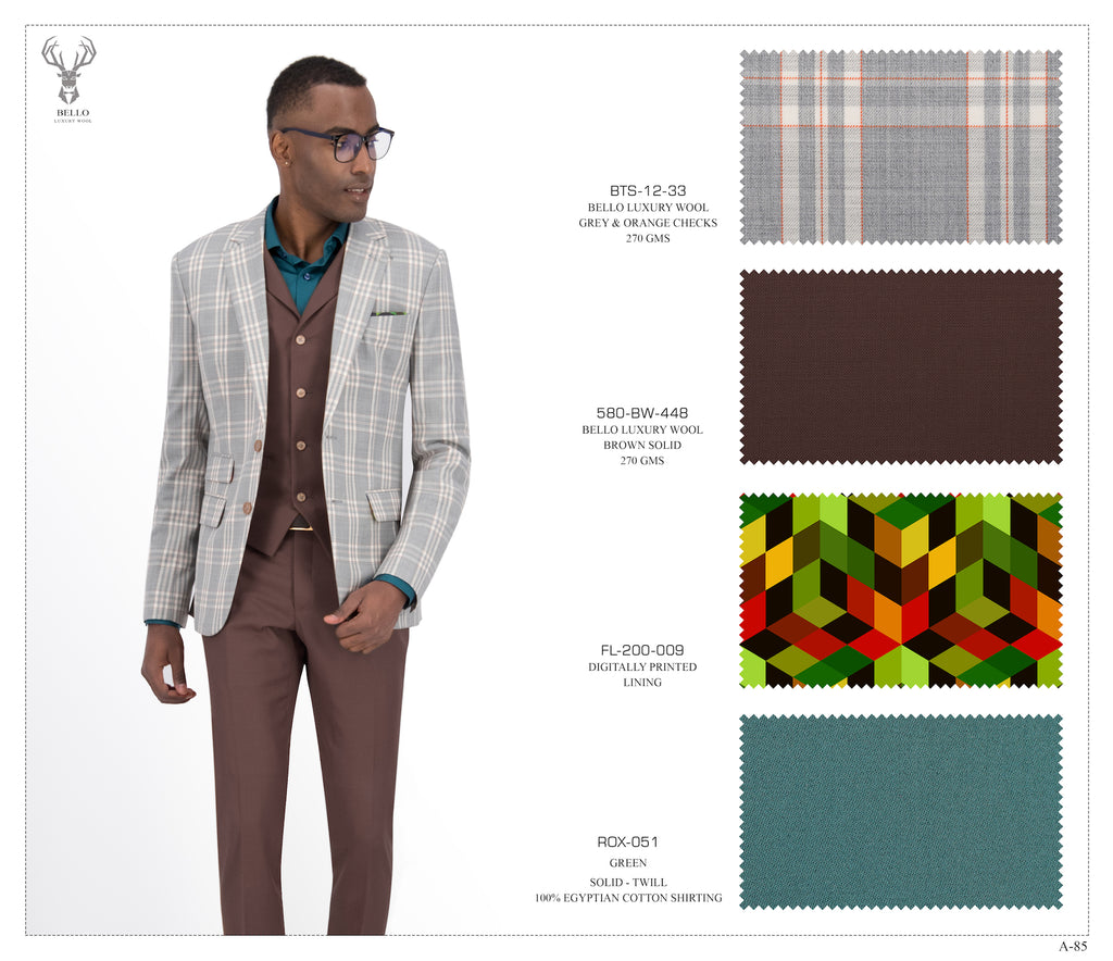 Grey and Orange Checks Suit - BTS-12-33