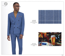 Load image into Gallery viewer, Double Breasted Blue & Tan Checks Suit JLM-649