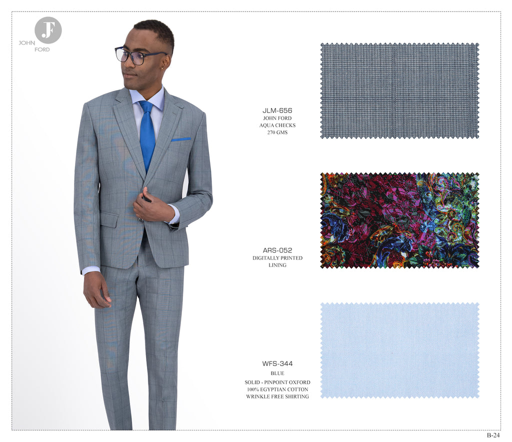 Aqua Checks Suit JLM-656