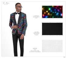 Load image into Gallery viewer, Fancy Print Tuxedo Jacket 031 with Black Solid Pants JLM-108