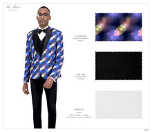 Load image into Gallery viewer, Fancy Print Tuxedo Jacket 032 with Black Solid Pants JLM-108