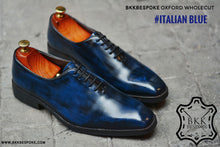 Load image into Gallery viewer, 502-2 New Oxford Wholecut Italian Blue Shoes