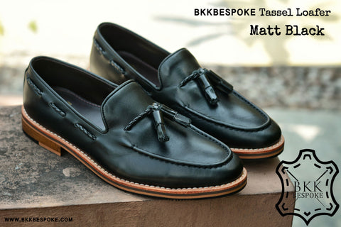 Tassel Loafer Matt Black Wooden Sole