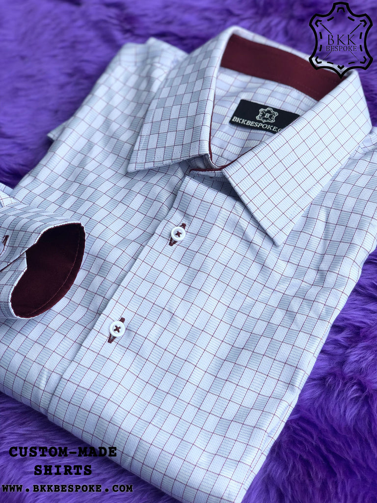 Blue-Maroon Cube Shirt with Maroon ICIC - Silver Quality