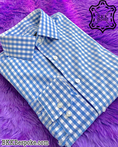 Checkered Blue-White Shirt - Classic Cuffs - Silver Quality