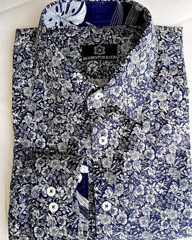 Limited Edition - Printed Flower Blue Shirt