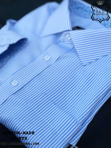 Blue Small Stripes Shirt - Printed ICIC - Silver Quality