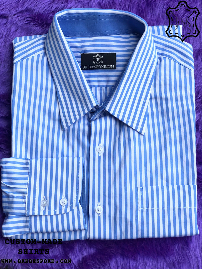 Stripes White Blue Shirt with Blue ICIC
