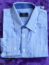 Load image into Gallery viewer, Stripes White Blue Shirt with Blue ICIC