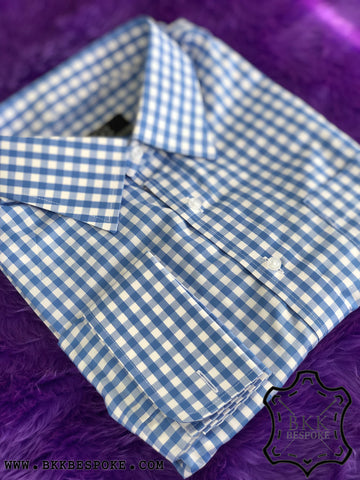 Checkered Blue-White Shirt - Silver Quality