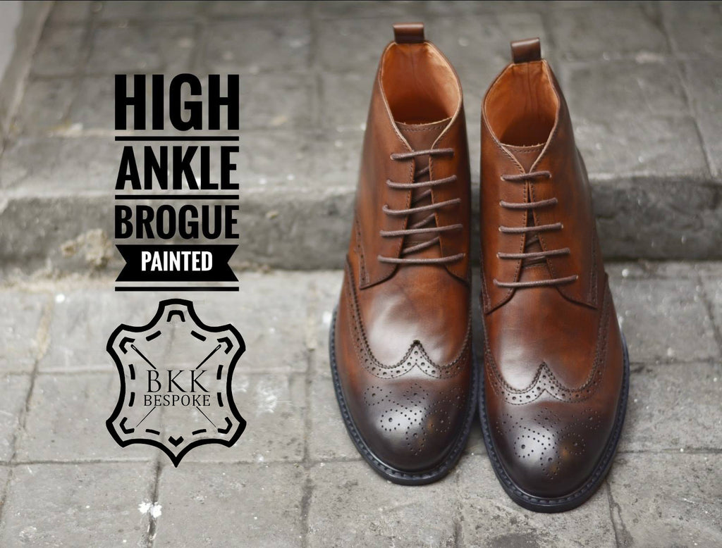 507-2 Brogue Painted Shoe Brown High Ankle