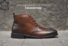 Load image into Gallery viewer, 507-2 Brogue Painted Shoe Brown High Ankle