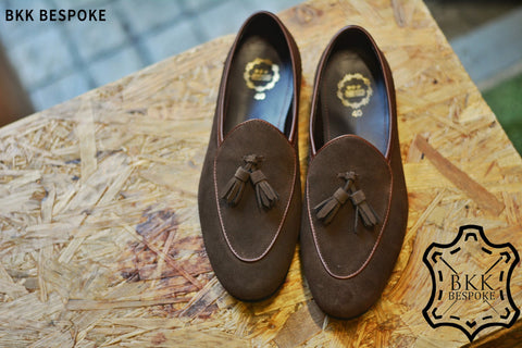 Belgian Loafer X Tassels Suede Brown