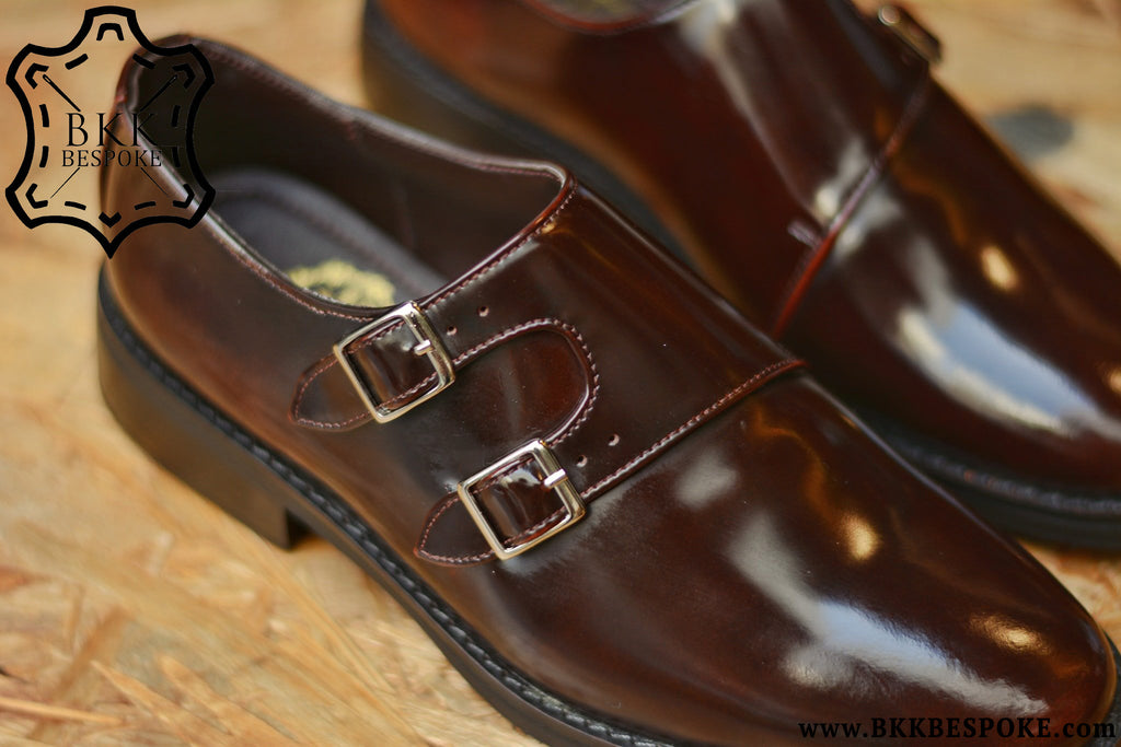 504-1 New Double Monk Side Straps Burgundy