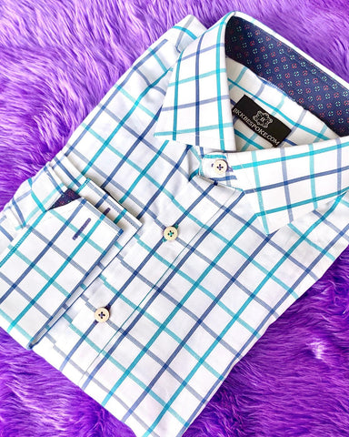 Checkered Blue - Aquare Shirt with Printed Blue ICIC