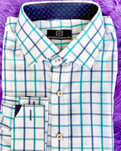Load image into Gallery viewer, Checkered Blue - Aquare Shirt with Printed Blue ICIC
