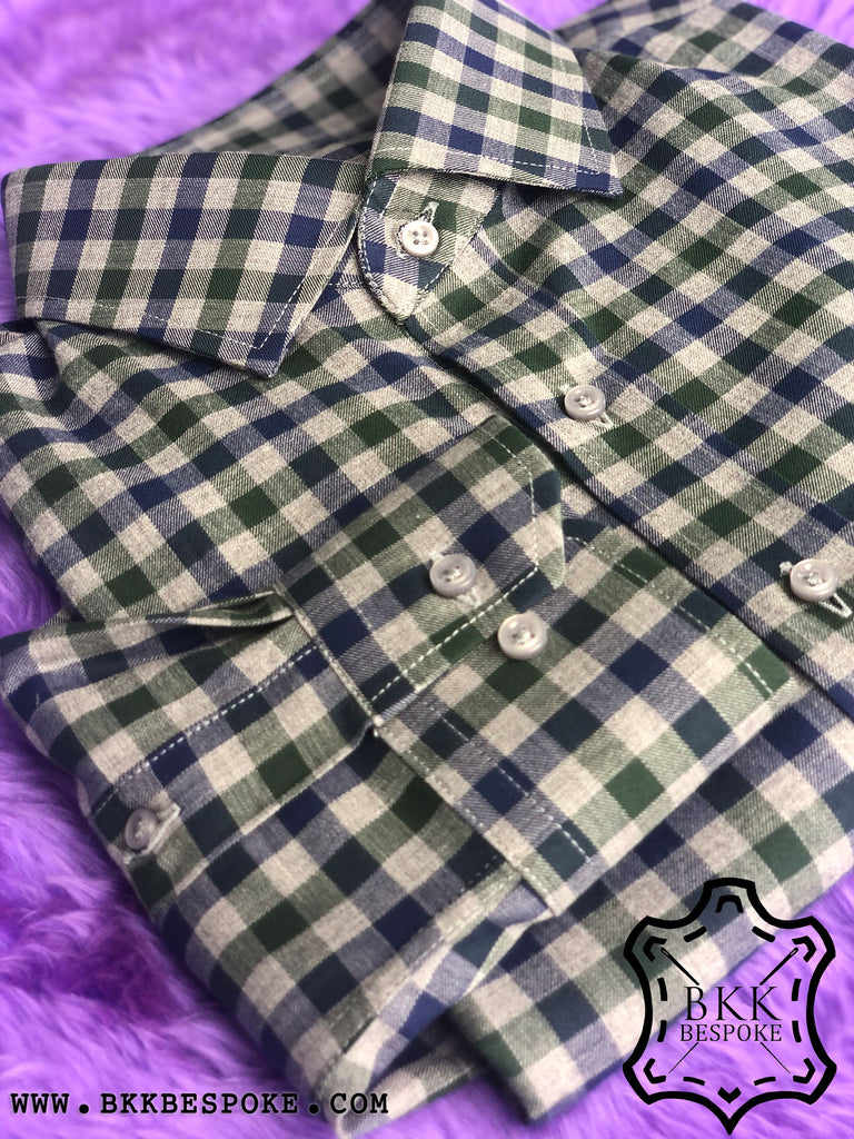 Blue-Green-Grey Checkered Shirt
