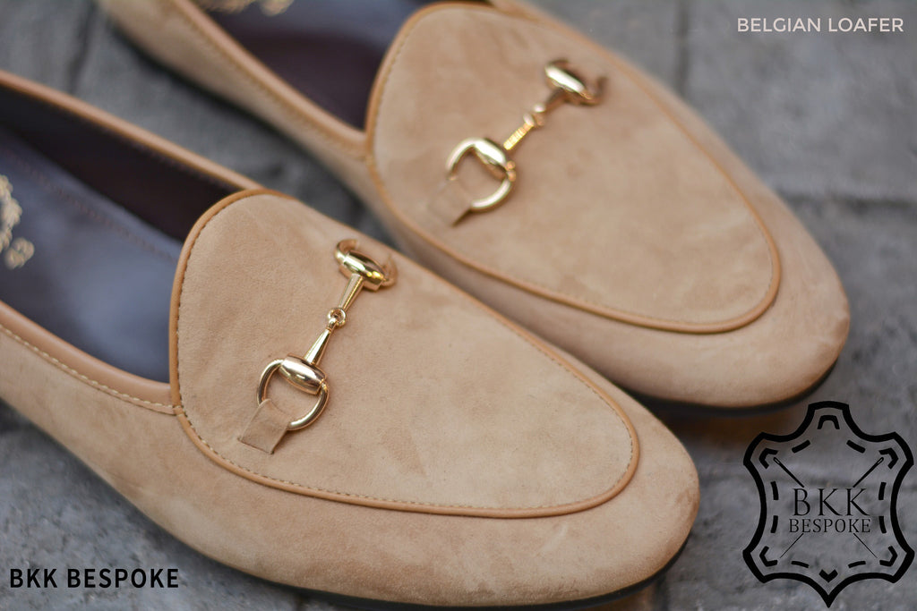 Belgian Loafer X Horsebit Suede Cream