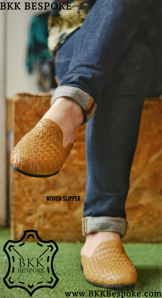 701-2 Woven Cream Slippers