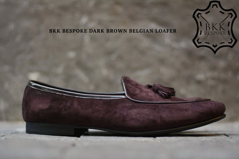 Belgian Loafer X Tassels Suede Dark Brown