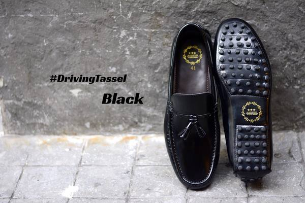 823-2 Driving Loafer Black Tassels