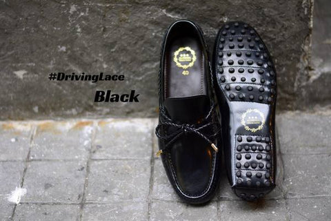 823-2 Driving Loafer Black with Plait lace