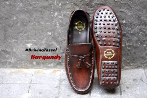 823-2 Driving Loafer Burgundy Tassels